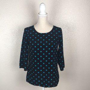 Tops - Black and Teal Polka Dot 3/4 Sleeve Blouse